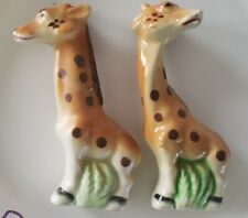 Adorable Vintage Stitched Baby Giraffe Salt and Pepper Shakers