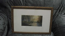c1910 Birches an original watercolor framed art by Hatcher