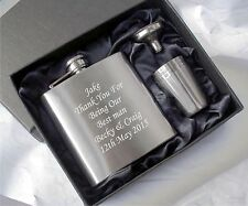 Personalised Engraved Hip Flask Best Man - Usher - Dad Groom Gift Boxed