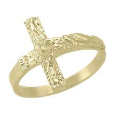 10k Yellow Gold Crucifix Ring, sz: 7.5 (New cross band, 2.4g) #1993
