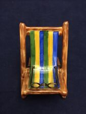 Limoges France Rochard Trinket Box Striped Beach Chair Round Reading Glasses