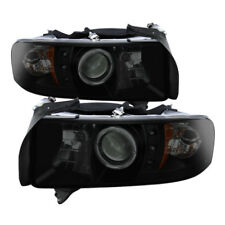 94-02 DODGE RAM 2500/3500 SPYDER BLACK/SMOKE PROJECTOR HEADLIGHTS W/LED HALO.