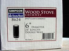 "Simpson Dura-Vent DuraBlack 6"" Dia. Wood Stove Pipe Double Wall 24"" 8624"