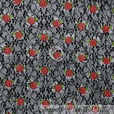 BonEful Fabric FQ Cotton Quilt VTG B&W Black Rose Flower Lace Shabby Chic French