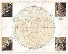 GIANT VINTAGE historic 1898 Brockhaus Map of the Moon OLD ANTIQUE lunar MAP