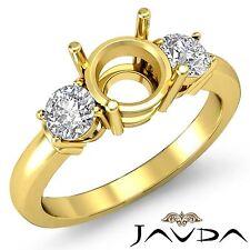Diamond Engagement Splendid Ring 18k Yellow Gold 3 Stone Round Semi Mount 0.3Ct