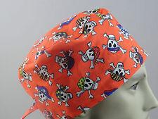 Medical_Surgical_ scrub hat_cap_Orange_skulls_bandanas_crossbones_Halloween fun