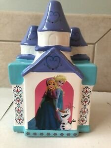 Disney Frozen Anna Elsa Olaf coin piggy bank ceramic castle with plug