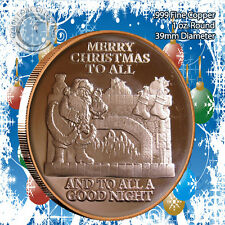 """""""Christmas Santa by the Fire"""" Design 1oz .999 Copper round with Snowflake Back"""