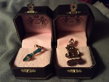 Lot of 2 Juicy Couture Charms Gingerbread Man & Blue Mule Shoe Retired Boxed