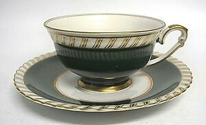 Franconia Forest Serb Bavaria Germany China Green Footed Tea Cup & Saucer Coffee