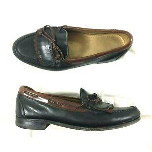 Allen Edmonds Woodstock Men Sz 9.5 Slip On Dress Two Tone Black Loafers Shoes