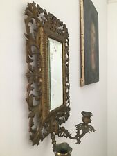 Antique girondelle brass 2 branch sconce with bevelled mirror, foxing 44cm C1890