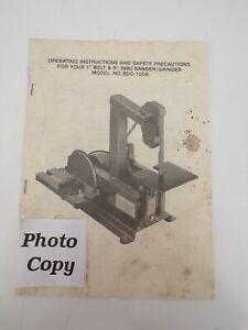 Operating Instructions 1in and 8in Disc Sander Grinder Model NO BDS-1008 Photo C