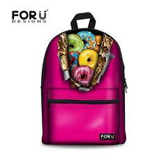 Women's Girls Canvas Backpack Shoulder Bag Handbag Satchel School Rucksack Pink
