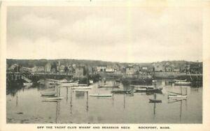 Rockport Massachusetts Yacht Club Wharf Bearskin Neck 1920s Postcard 21-10458