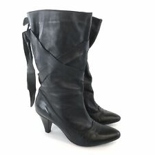 Monsoon Size 41 UK8 Black Leather Ankle Pull On Straps Heeled Booties Boots