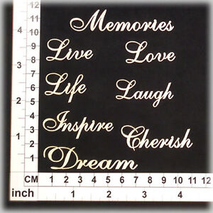 Chipboard Accents for Scrapbooking, Cardmaking - Assorted Words 01 CB1134w