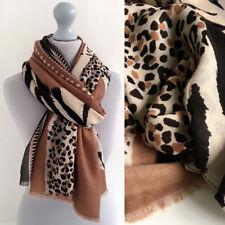 Large Leopard Print Scarf Black Beige Nude Camel Animal Big Long Cotton Shawl