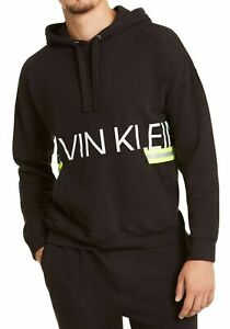 Calvin Klein Mens Sleepwear Black Small S Caution Tape Fleece Hoodie $65