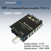 1002 HIFI 2x100W TPA3116 AUX+ bluetooth 5.0 Digital Amplifier Stereo Board AMP