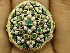 C1214- HUGE 9ct Gold NATURAL Emerald & Pearl VICTORIAN COCKTAIL Ring in yr size