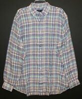 Polo Ralph Lauren Big & Tall Mens LT Color Plaid Linen Button-Front Shirt NWT LT