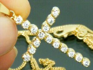 "18ct Gold 0.50ct Diamond Cross Pendant & 16"" Hallmarked chain Necklace"
