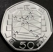 More details for rare brilliant uncirculated 1992 / 1993 'dual date' eec fifty pence, 50p, coin.