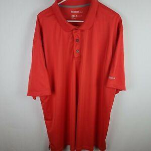 Reebok Golf Polo Shirt Short Sleeve Orange Pull Over Button Big & Tall Size 3XLT