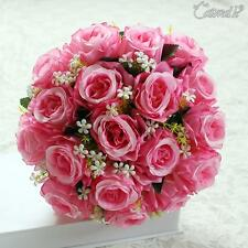 Silk Fake Roses Artificial Wedding Flowers Decrations Bridal Posy Flower 18 Head