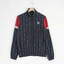 New Mens Sergio Tacchini All Over Logo Shell Track Jacket Top M Medium Blue Red