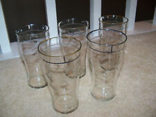 Five Vintage Drinking Glasses with Etched Vines Leaves Design and Gold Rim