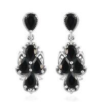925 Sterling Silver Platinum Over Black Tourmaline Dangle Drop Earrings Ct 3.9