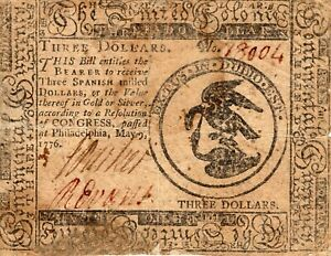 Fr. CC-33 May 9 1776 Philadelphia Continental Currency $3 Three Dollars Note