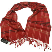 NWT Cejon Women's Plaid Fringe Scarf Made In Italy Red-Black Acrylic With Defect