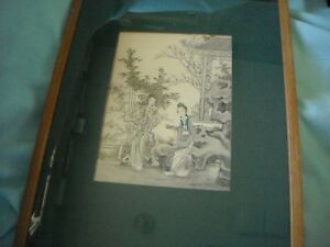 Oriental Print Black on White with A Little Color Framed #1of 2