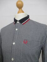 Fred Perry | Flat Knit Collar Long Sleeve Gingham Check Shirt Large (Black)