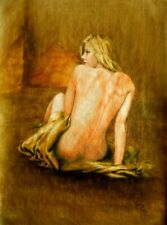 Silvia back nude in the ruins, painted with oil, b3 canvas