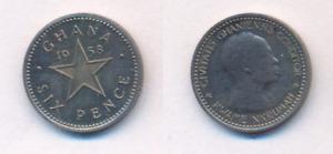 Münze  Ghana  6 Pence  1958  Nkrumah   S#4 KM#4