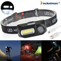 Mini COB XPE LED Headlight USB Rechargeable Headlamp Camping Flashlight 6 Modes
