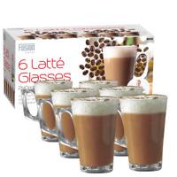 New 6Pk Latte Glass 240ml Coffee Cappucino Tea Cafe Latte Mugs Glasses Cups Home