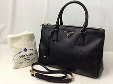 Auth Prada Fuoco Saffiano Lux Double Zip Black Medium Tote Bag 6E220610s""