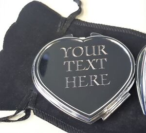 ENGRAVED SILVER HEART COMPACT MIRROR Personalised Mother Mum Birthday Gift