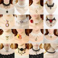 Pendant Chain Lace Necklace Women Victorian Collar Choker Black Gothic Vintage