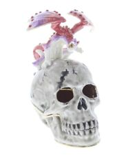 Ciel Collectible Jeweled Skull with a Dragon Trinket Box Austrian Crystals
