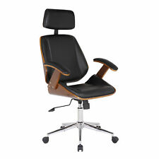 Armen Living Century Faux Leather Office Chair in Black