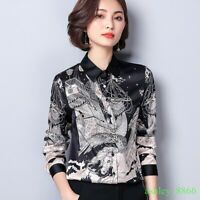 Lady's Silk Womens Floral Lapel Long Sleeves Casual Shirts OL Stylish Blouses