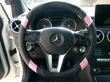 Rear Design Good Fit PU Leather Steering Wheel Cover Black & Pink Version