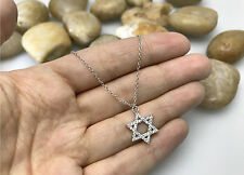 Jewish Star of David Religious Pendant Necklace with AAA quality CZ, .925 Silver